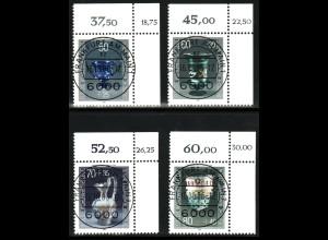 """1986, Wohlfahrt Gläser, Eckrandstücke """"FFM"""" mit korrigierter Bogenwertziffer"""