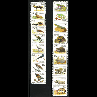 Südafrika: 1993, Freimarken Bedrohte Tiere (mit lateinischer Bezeichnung)