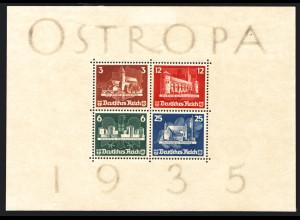 1935, Blockausgabe OSTROPA mit Gummierung und leichten Anhaftungen (gepr. BPP)