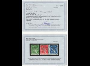 """1949, Währungsgeschädigte, Sonderstempel """"Grüne Woche"""", Fotobefund BPP"""
