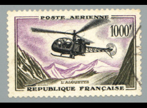 Frankreich: 1958, Hubschrauber 1000 Fr. (knapp gestempelt)