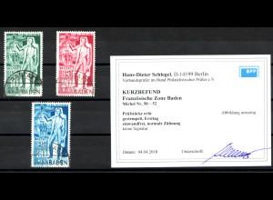 Franz. Zone - Baden: Carl Schurz (Ersttagsstempel, Fotobefund BPP)