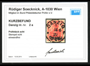 Danzig: 1920, Berliner Aufdruck 10 Pfg. in der guten Farbe karminrot