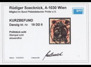 Danzig: 1920, Germania-Aufdruck 60 auf 30 Pfg. mit Doppelaufdruck