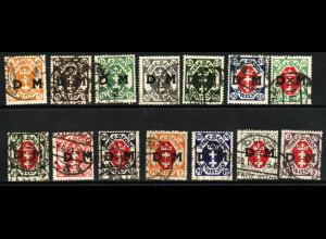 Danzig: 1921, Dienstmarken Wappenüberdrucke (Bedarfsstücke)