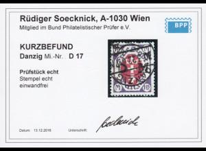 Danzig: 1921, Dienstmarken Wappenüberdruck 1,25 Mk., Bedarfsstück