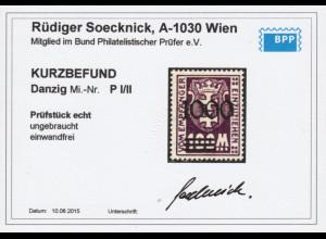 Danzig: Nicht verausgabte Portomarke 1000 auf 100 Mk. (Kat.-Nr. P I / II)