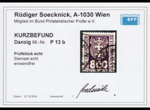 Danzig: 1921, Portomarken WZ 2, 800 Pfg. dunkelbraunviolett (Kurzbefund BPP)