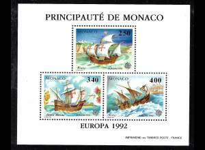 Monaco: 1992, Sonderdruck in Blockform gezähnt, Europa-Cept