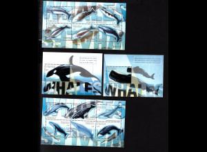 Mikronesien: 2001, Wale (Kleinbogenpaar und Blockpaar)