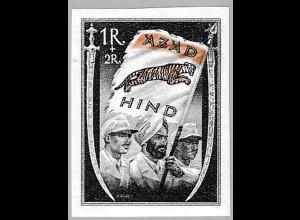 Nationales Indien: 1 R. Fahne schwarz / orange (postfrisch, altsigniert)