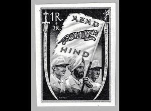 Nationales Indien: 1 R. Fahne nur schwarz (altsignierter Hauptwert, M€ 850,-)