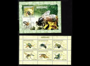 Mocambique: 2007, Kleinbogen und Blockausgabe Biene und Wespen