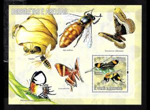 Sao Thome und Principe: 2006, Blockausgabe Schmetterling und Biene