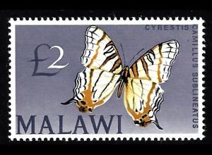 Malawi: 1966, Schmetterling 2 £ (Höchstwert der Freimarkenausgabe )