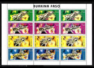 Burkina Faso: 1996, Wanderheuschrecken (Kleinbogen mit 3 Viererstreifen)
