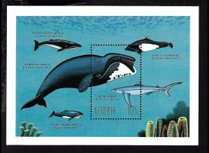 Gambia: 1996, Blockausgabe Grönlandwal und Blauhai