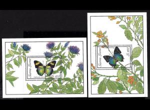 Sierra Leone: 1989, Blockpaar Schmetterlinge