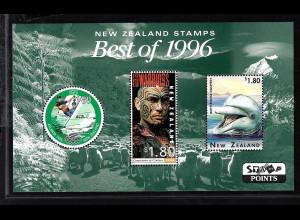 Neuseeland: 1996, Blockausg. Schönste Briefmarken, Motiv Delfin, Segeln, Kino)