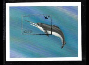Antigua und Barbuda: 1999, Block Prähistorische Tiere (Delfin, Einzelstück)