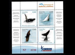 Costa Rica: 2008, Blockausgabe Wale und Delfine