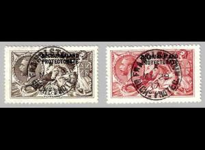 Betschuanaland: 1920/23, Freimarken König Georg V. 2,6 und 5 Sch.