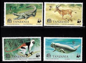 Tansania: 1977, Geschützte Wildtiere (Kat.-Nr. 82, Schildkröte fehlt leider)
