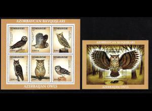 Aserbeidschan: 2001, Eulen (Kleinbogen und Blockausgabe)