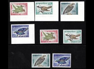 Laos: 1966, Vögel (gezähnt und ungezähnt)