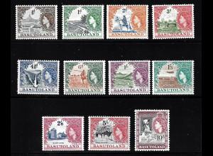 Basutoland: 1954, Freimarken Königin Elisabeth und Landesmotive