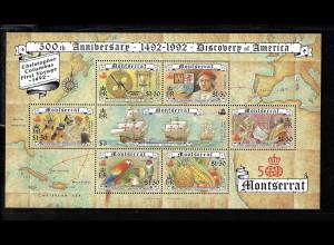 Montserrat: 1992, Blockausgabe Entdeckung von Amerika (auch Motiv Schiffe)