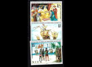 Niue: 1992, Entdeckung von Amerika (Chr. Kolumbus und historische Segelschiffe)