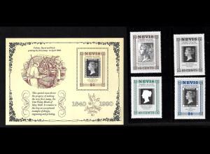 Nevis: 1990, 150 Jahre Briefmarken (Motiv Marke auf Marke)