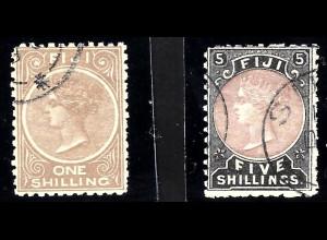 Fidschi-Inseln: 1881, Freimarken Königin Victoria 1 und 5 Sh.
