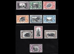 St. Helena: 1934, 100 Jahre Kronkolonie, Ausgabe komplett mit Erstfalz, 10 Sh **