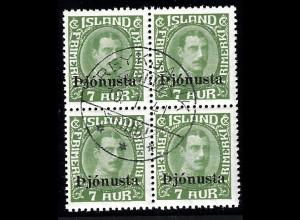 Island: 1936, Dienstmarken 7 A. (zentrisch gestempelter Viererblock, M€ 100,-)
