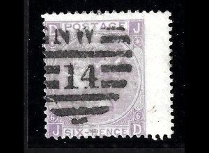 "Grossbritannien: 1867, Königin Victoria 6 P., Duplexstempel ""14"""